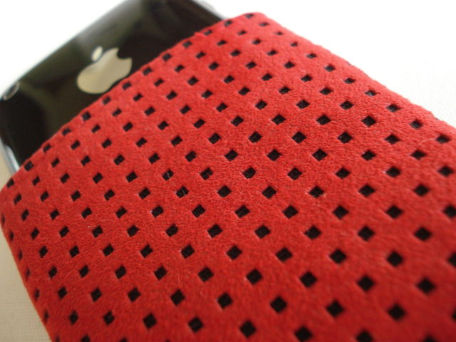 Alcantara Red sleeve for iPhone 3GS with pocket £21.00 plus £3.50 p&p